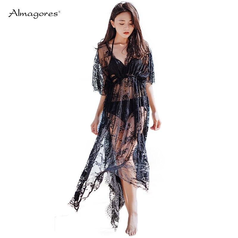 Almagores Lace Beach Wear Mesh See Through Beach Sundress Women Covers Praia Feminino 2018 Summer Bathing Suit Dress V Neck