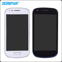 For Samsung galaxy S3 Mini i8190 LCD Display + touch screen with digitizer + Bezel Frame Assembly , Free shipping !!!
