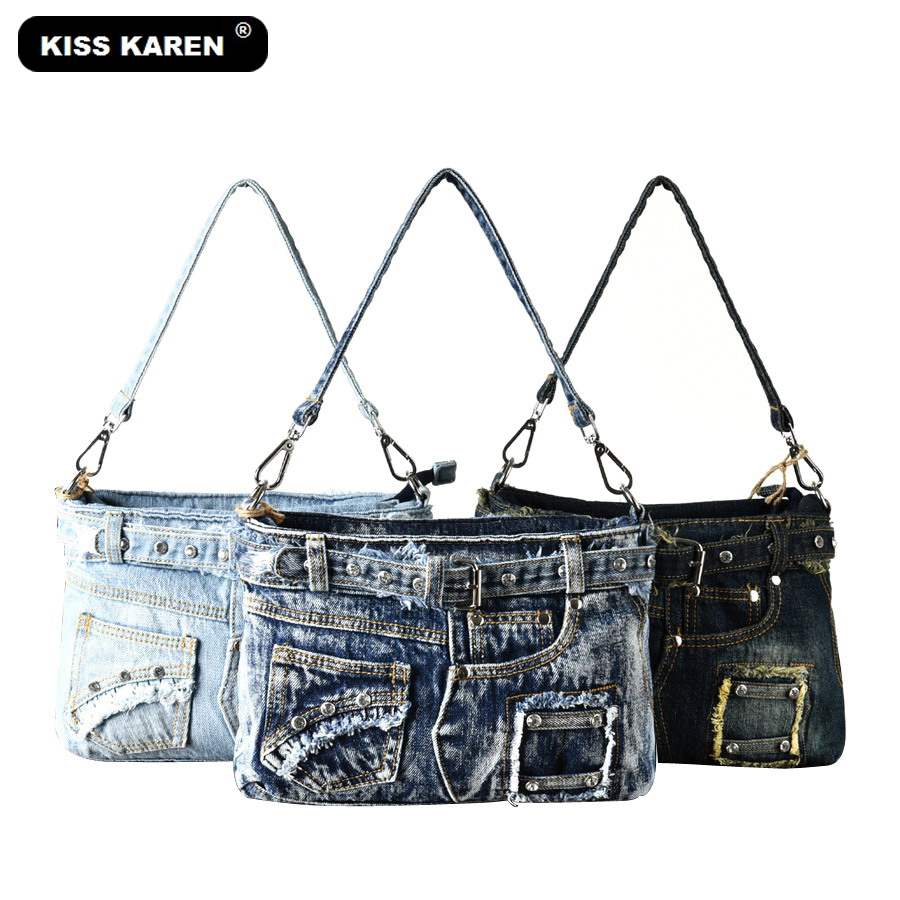 KISS KAREN Diamond Studs Denim Bag Women Handbags Women Shoulder Bags Jeans Women's Crossbody Bags Lady Fashion Satchels