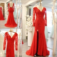 Hot Sales 2016 Sexy Mermaid V Neck Long Sleeves Evening Dress Custom Made Open Back Evening