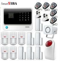 SmartYIBA Wireless GSM WIFI GPRS Alarma WIFI Network Surveillance Camera Strobe Siren PIR Motion Alarm Home Security Alarmes