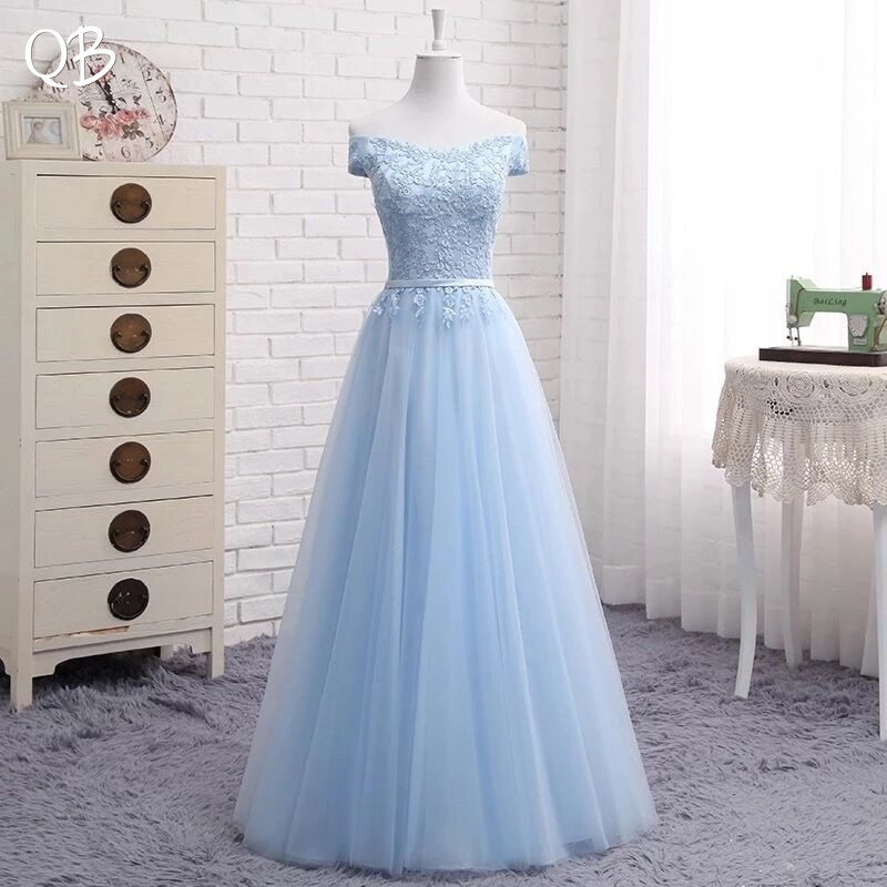 A-line Cap Sleeve Tulle Lace Evening Dresses Long Formal Elegant Prom Gowns Dress Wine Red Green Blue Grey Pink Many Color EN04
