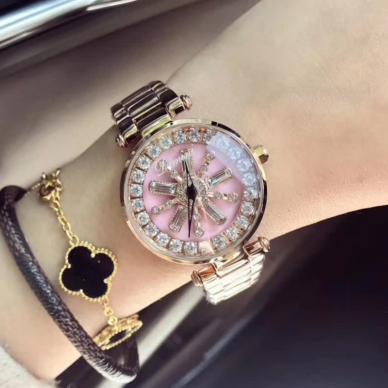 цена на 2018 Top Brand Fashion Women Quartz Watch Stainless Steel Watches Lady Dress Bracelet Big Diamond Clocks Female Montre Femme New