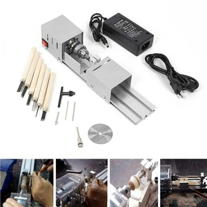 Image 2 - DC12 24V 96W/100W Mini Lathe Beads Machine Woodwork DIY Lathe Standard Set with Power carving cutter Wood Lathe