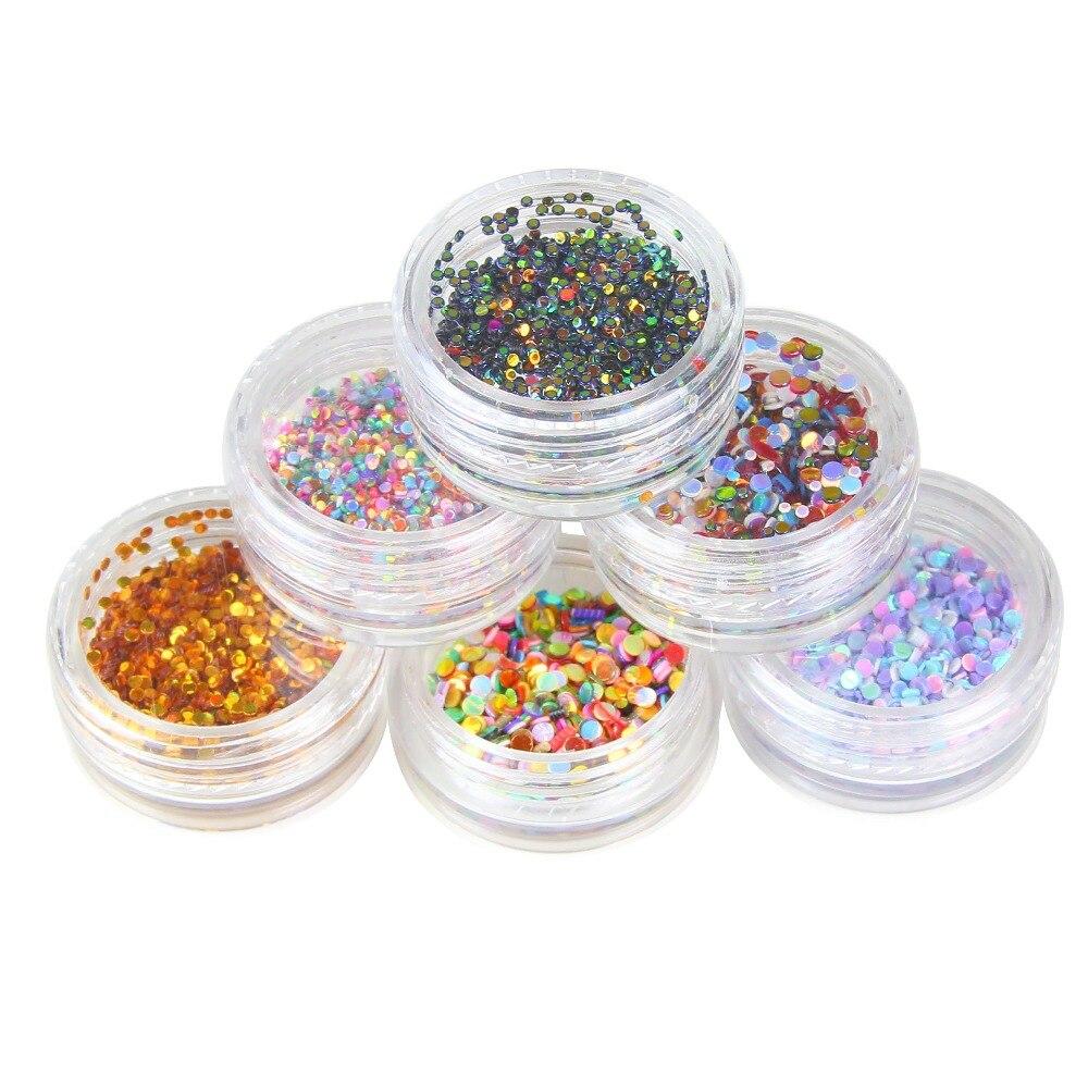 1 conjunto de 6 Cores Novo Projeto da Forma Redonda Prego Glitter Pó Poeira 3D Decorações Da Arte Do Prego Garrafa Nail Art Ponta Conjunto Ferramentas de BRICOLAGE WY214
