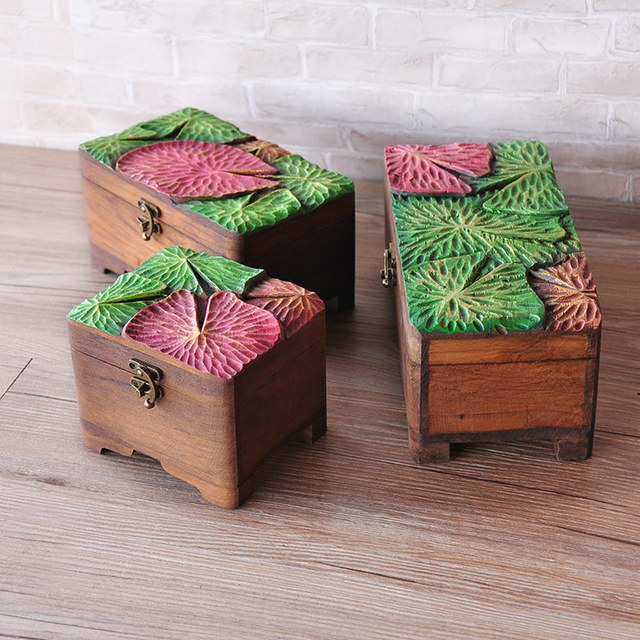Thailand Painted Carved Wood Jewelry Box With Lid IKEA Bedroom Decorations  Finishing Desktop Storage Box