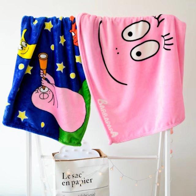 100 70cm Cute Cartoon Anime Barbapapa Plush Toys Air Conditioning Blanket Coral Fleece Blanket Soft Towel