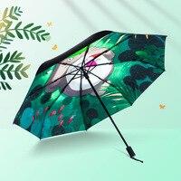 Black Anime Totoro Oil Painting Umbrella Rain Sun Women Ghibli Parasol Plegable Paraguas Mujer Parapluie Guarda Chuva Totoro