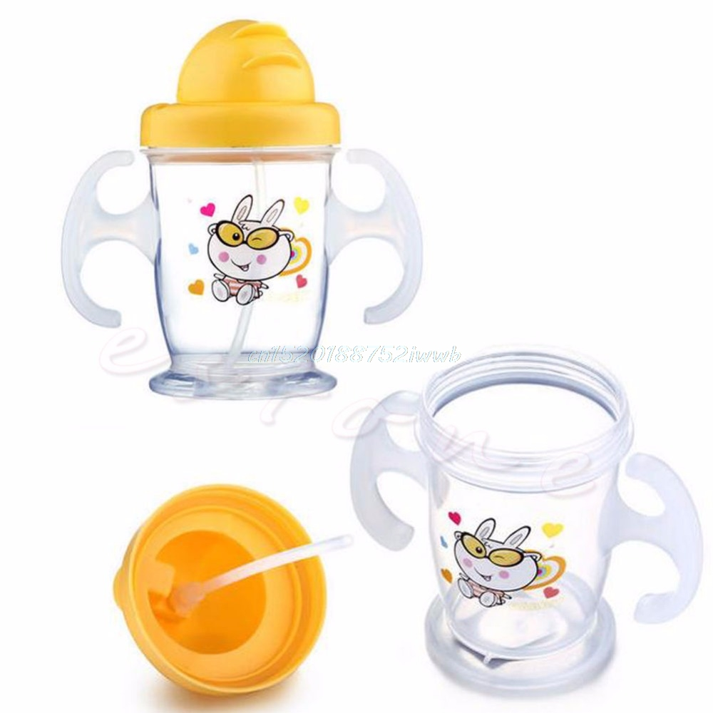 Hot Cute 200ML Durable Children Baby Straw Cup Drink Bottles Sippy Cups Handles #T026#