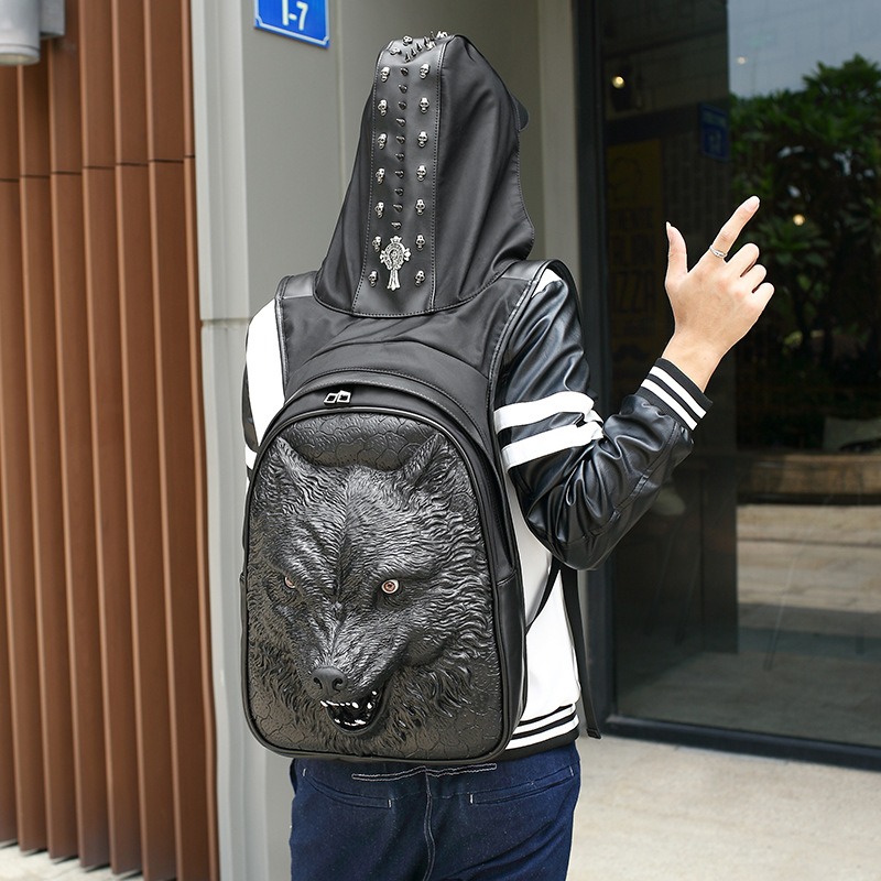 Men's Werewolf Hooded Backpack Large Male Black Gold Silver 3D Wolf Head Design Printing Backpack With Hood Fashion Casual Bags 2