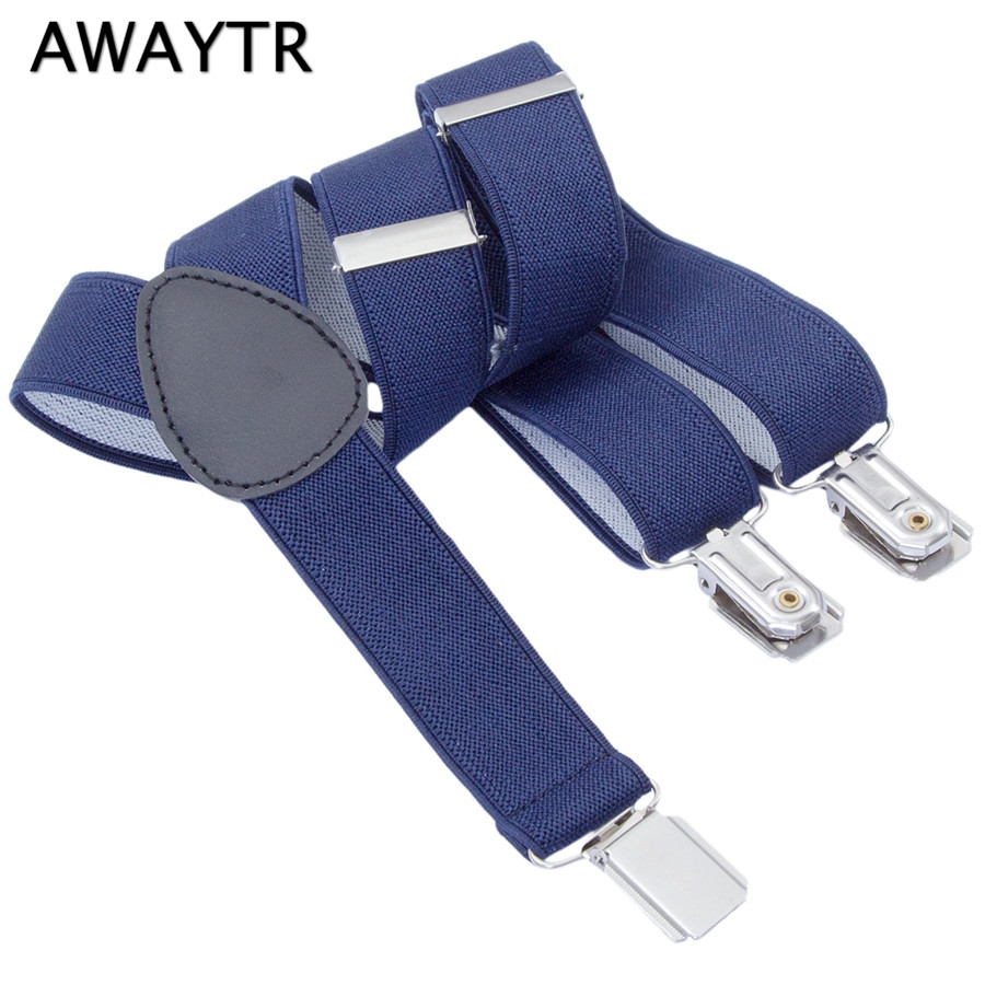 4-12 Years Old Children AWAYTR Black/Navy/Blue/Grey Color Suspenders For Kids Wedding Party School Fashion Braces Elastic Belts