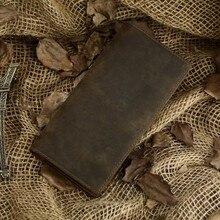 Nesitu Long Size Vintage Dark Brown 100% Guarantee Crazy Horse Leather Real Genuine Leather Men Wallets Cowhide Purse #M8030