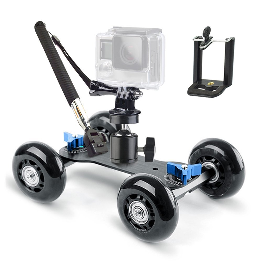 Track Skater Dolly Kit Include Ball Head Gopro Mount Cellphone Holder and Handheld Monopod For DSLR Video And Camcorder 5 in 1