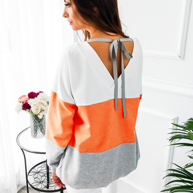 Sexy Backless Bandage Lace-up Sweatshirts Women Autumn Striped Patchwork Pullovers Hoodies Casual Long Sleeve Tracksuit Tops