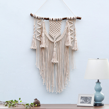 Handmade Macrame Wall Hanging art primitive decor tapestry with Fabrics Bohemian dorm Decoration Gift