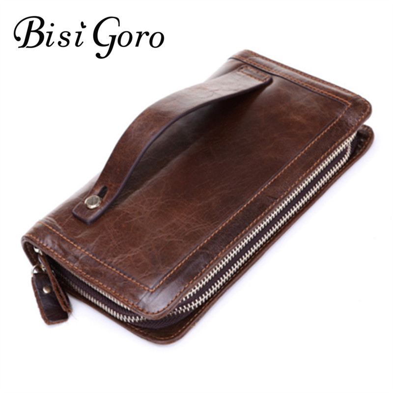 Bisi Goro 2017 New Men Wallet Genuine Leather High Quality Long Design Clutch Cowhide Wallet Card Holder Co Pocket Male Wallet free shipping 2014 original dura ace 9000 2 11 speed mtb road bike groutset top level bicycle derailleur 8 piece set