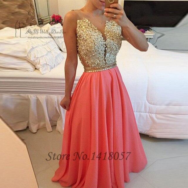 505d41554 Vestido de Festa Longo Vestidos de Noche Largo Sin Espalda de Encaje de Oro  de Coral