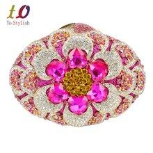 Neueste Rosa Kristall Mode Frauen Clutch Diamant Abendtasche Grün Luxury Diamante Partei Geldbörse für Prom braut Kupplungen SC486