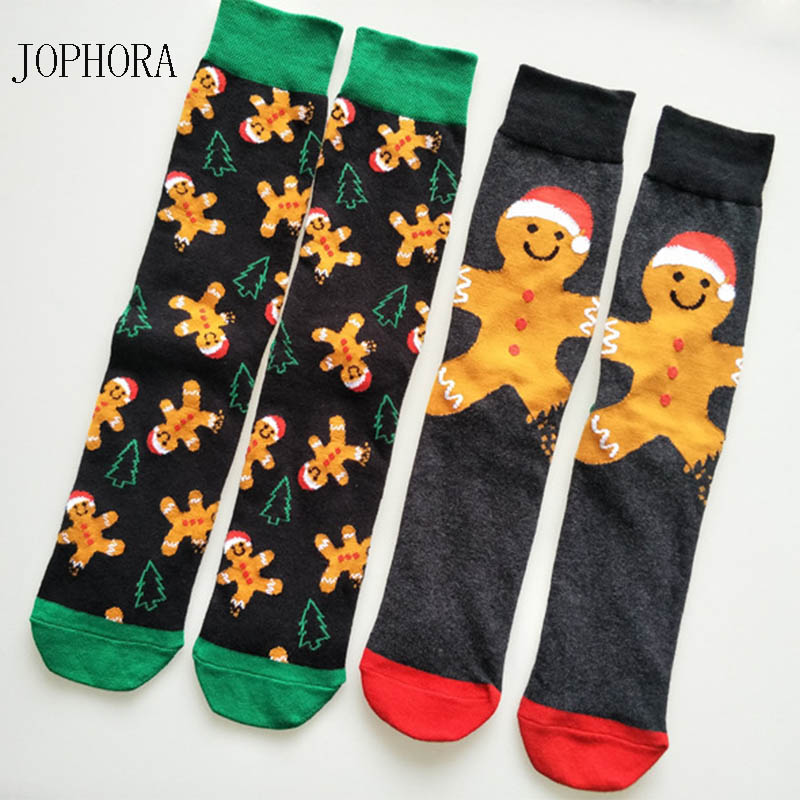 JOPHORA  2019 New Christmas Cartoon Men's Cotton Socks Sweat Breathable Personality Cotton Socks Snow Doll Sports Socks