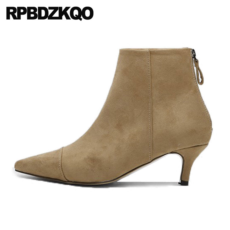 9f6146b731799 Noir Court Bottes Haute En Pointu Talon Fourrure Femmes Des Marque Daim  Bout khaki Dames Colombie Moyen Chaussures 2018 Automne Cheville ...