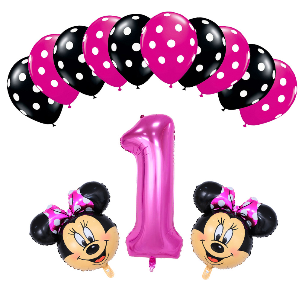 13pcs Baby 1th Happy birthday Decor balloon mickey minnie mouse 40 inch number Helium Foil Balloons dot latex balloon decoration