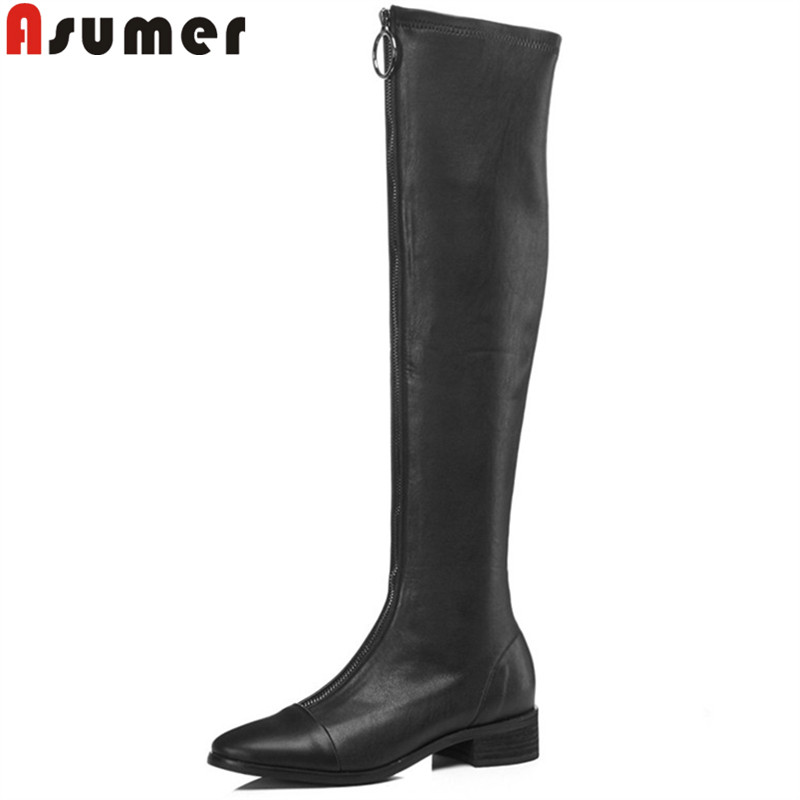 ASUMER big size 34-43 fashion over the knee boots round toe zip stretch fabric+cow leather boots med heels thight high boots