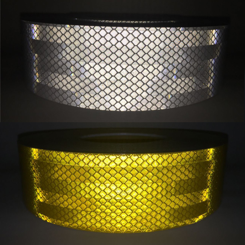 5cm X 25m Reflective Tape Stickers Car Styling Self-adhesive Tape Pet Engineering Grade Barrier Trailer Tape Reflective Material