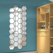Panal hexagonal Regular decorativo 3D, pegatinas de espejo acrílico para pared, sala de estar póster para, dormitorio, decoración del hogar, decoración de la habitación(China)