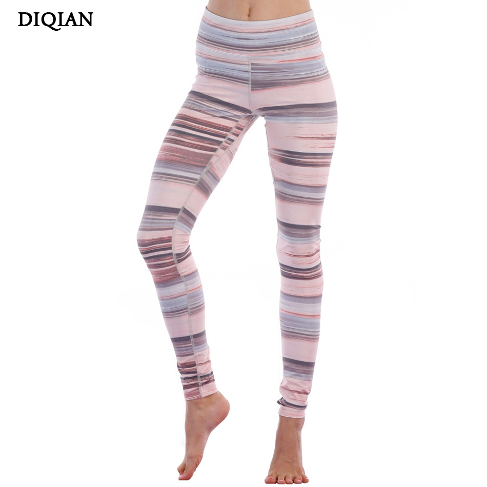DIQIAN Retro Colorful Stripe Print Yoga Leggings For Women Fitness High Waist Yoga Pants Compression Gym Tights Jogging Trousers