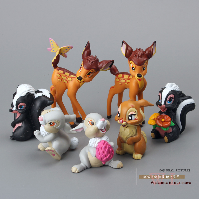 цены  New Lovely Bambi Deer PVC Action Figure Model Dolls Children Classic Toys DSFG077 Gift For Kids 7pcs/set Free Shipping