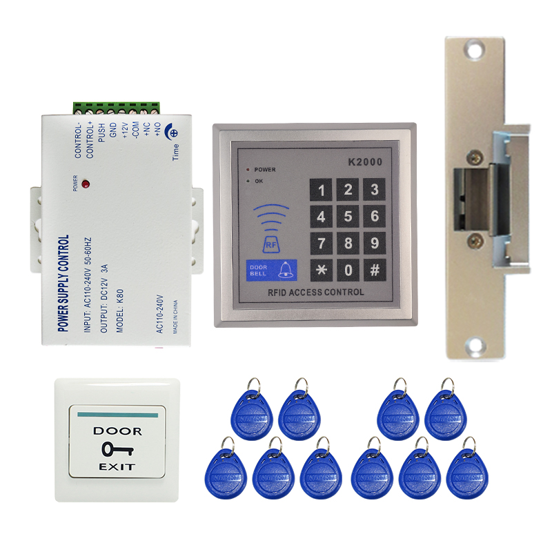 Brand New DIY Door Access Control System Kit Set + NC Electric Strike Lock + Rfid Keypad + Exit Button in stock Free Shipping