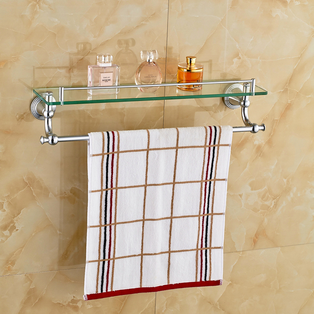 Delicieux Chrome Polished Bathroom Glass Shelf Wall Mount Cosmetic Holder With Towel  Bar