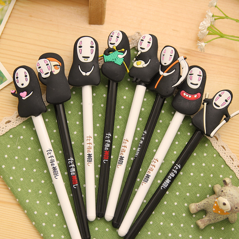 QSHOIC  25 PCS/lot South Korea stationery hayao miyazaki cartoon pen Spirited away ghost pen creative men without a cartoon face 12pcs lot south korea stationery love secret garden straight liquid type fountain pen 2017