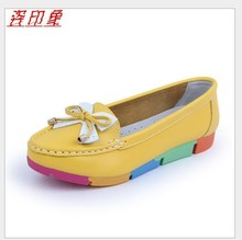 Promotions!!2014 autumn mother work shoes genuine leather shoes Slip-on Ballet Flats Comfort Anti-skid Women's Single shoes