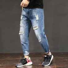 New Arrival Korean Style Ninth Plus Size Pants Fashion Hole Jeans For Men