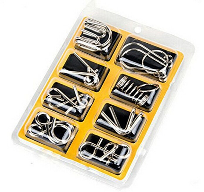8PCS / Set Metal Wire Puzzle IQ Mind Rompicapo Puzzle Game per Adulti Bambini Bambini