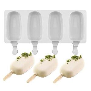 Image 2 - 食品安全シリコーンアイスクリーム金型4携帯冷凍アイスキューブ金型アイスキャンデーメーカーdiy自家製冷凍庫アイスキャンディー型