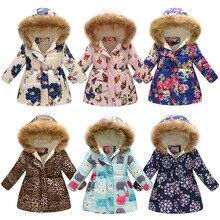Зимние теплые куртки-пуховики для девочек; детская модная плотная верхняя одежда с принтом; одежда для детей; милая осенняя куртка для маленьких девочек; пальто с капюшоном