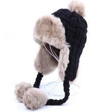b54237aecd2c54 Women Trapper Hats Winter Warm Faux Fox Fur Bomber Hat Beanies Russian  Ushanka Wool Knit Pom Pom Earflaps Aviator Caps
