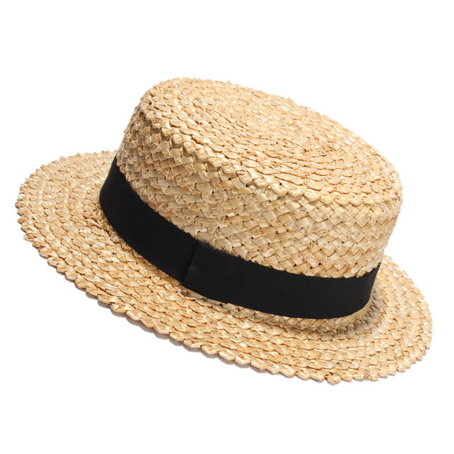 2017 New Summer Natural Straw Sun Hat For Women Men Fashion Beach Hats Las Flat Sunhat