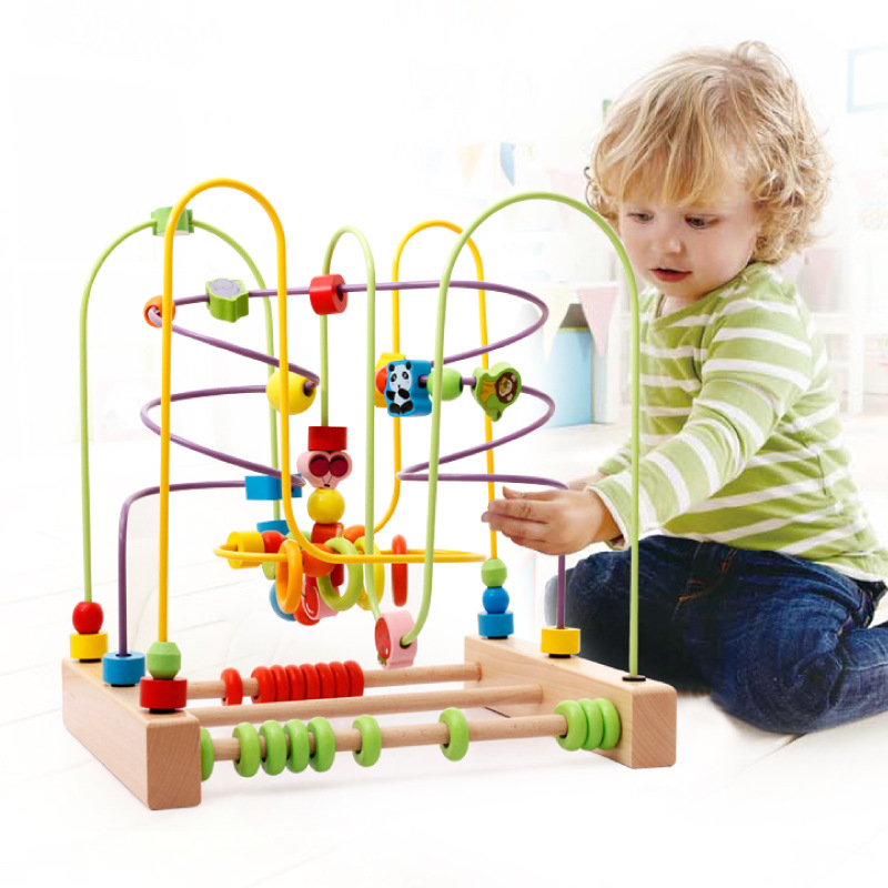Big Size!!Baby Puzzle  Early Education Wooden Beech Multi-function Round Bead Maze Roller Coaster Toys For Kids Children MZ206 wooden bead maze math toy kids early educational montessori toy baby children bead rollercoaster round wire maze puzzle toy gift