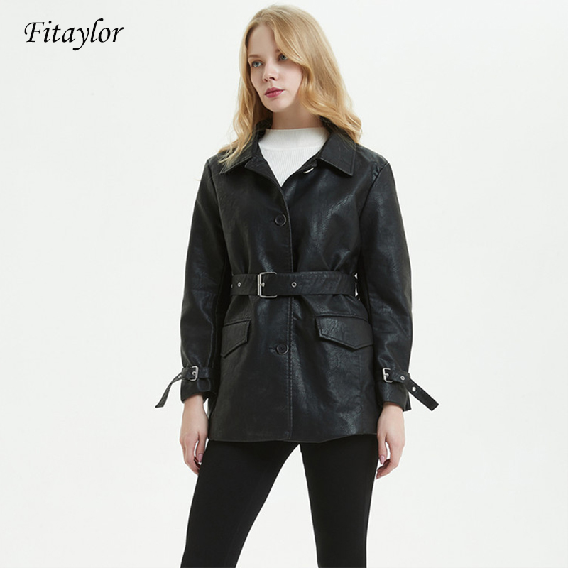 Fitaylor 2019 New Women Black Pu   Leather   Long Jacket Casual With Belt Single Breasted Leathe Coat Ladies Basic Jackets
