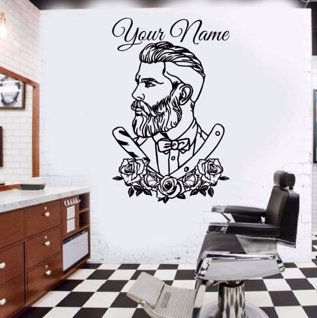 barber shop wall decal tattoo hipster personalized name wall sticker