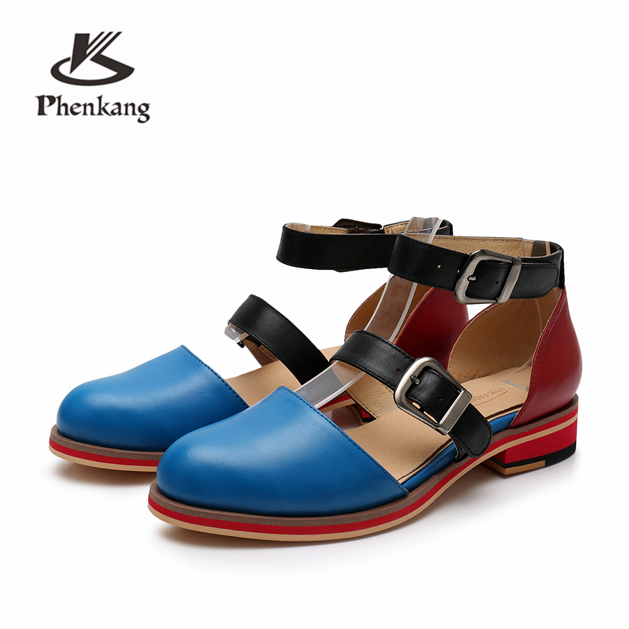 Genuine sheepskin leather brogue yinzo lady flats Sandals shoes vintage handmade oxford shoes for women 2019 spring red blue-in Low Heels from Shoes    3