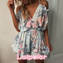 Fashion Women Off shoulder Clothes Ruffles Floral Print Laipelar