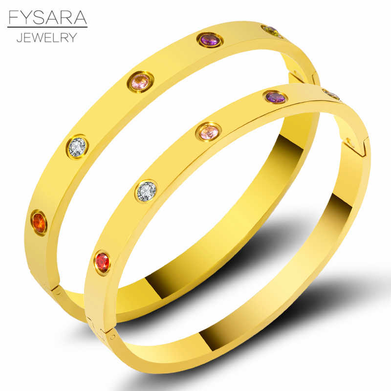 FYSARA Luxury Colorful Zirconia Crystals Bracelets & Bangles Stainless Steel Screw Lovely Bangles For Women Couple Pulseiras