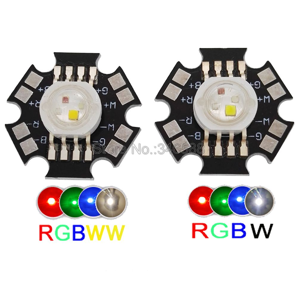 5pcs/lot! 4W RGBW RGBWW High Power LED Light Emitter Bead RGB + Warm White Or RGB + White 4 Chip LED Lamp Chip With 20mm PCB
