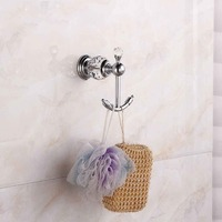 Crystal Brass Robe Hook Bathroom Hangings Towel Rack Wall Mounted Clothes Coat Hook
