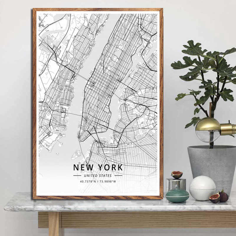 P454 Modern Art Black White World City Maps Travel London Paris New York Star Art Painting Silk Canvas Poster Wall Home Decor