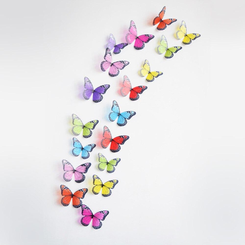 Кристалл эффект 3d Бабочка DIY Наклейки на стену Декор Книги по искусству decorations18pcs различные цвета ...